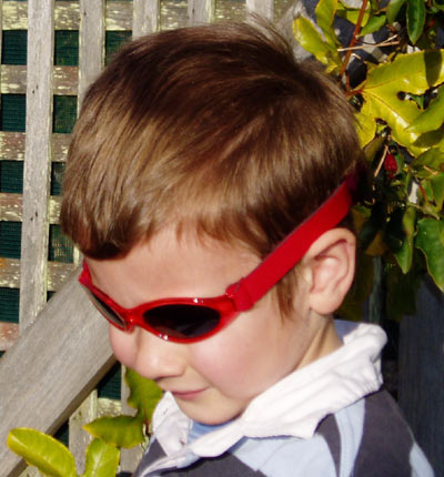Baby Banz Adventure Banz sunglasses on a boy