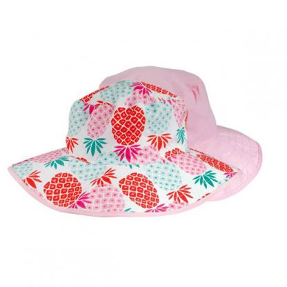 Reversible Sunhat - Pineapples/Pink