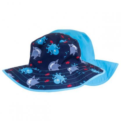 Reversible Sunhat - Sharks & Octopuses/Teal