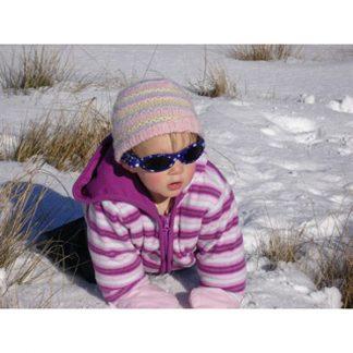 Baby Banz Adventure Banz Blue Dot sunglasses in the snow