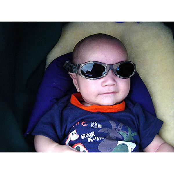 Baby Banz Adventure Banz Camo Brown sunglasses on cute baby