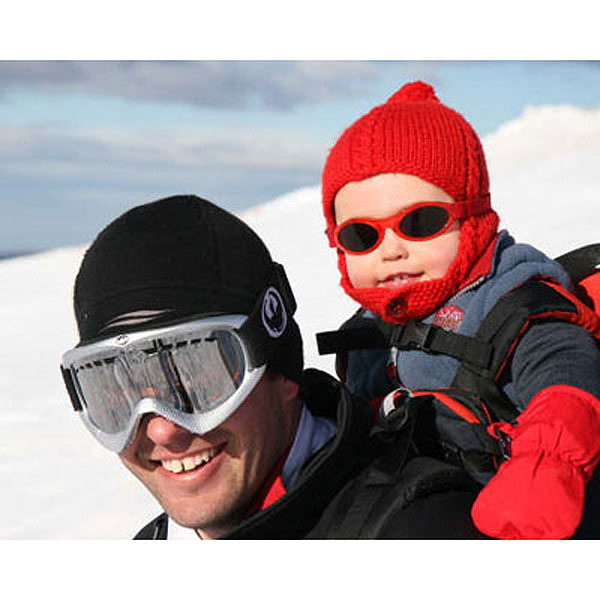 Baby Banz Adventure Banz sunglasses in Red at the snow