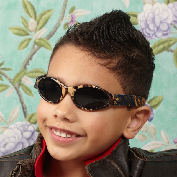Baby Banz Adventure Banz sunglasses Tree Bark on five year old boy