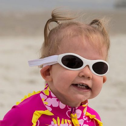 Girl in Adventure Banz sunglasses in White