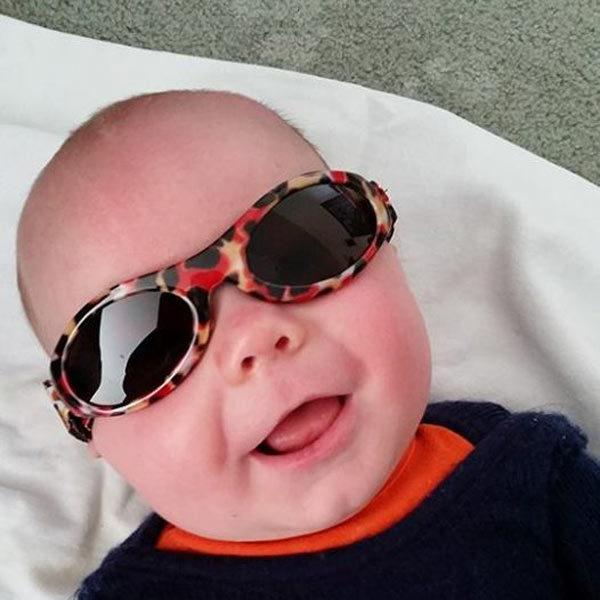 Baby wearing Adventure Banz sunglasses 'Zoo'
