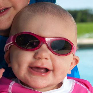 Baby in Baby Banz Adventure Banz Pink sunglasses