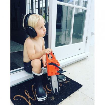 Boy in Black Protective Earmuffs