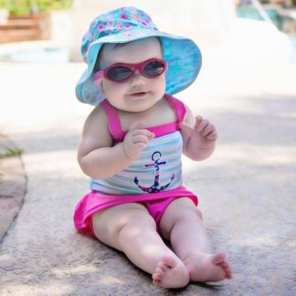 Baby in Reversible Sunhat in Floral Mint/Turquoise