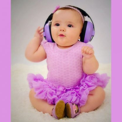 Baby girl wearing Mini Muffs in Lilac