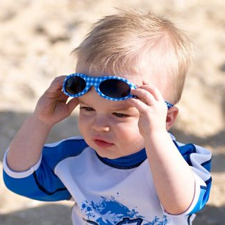 Baby in Adventure Banz Blue Check sunglasses