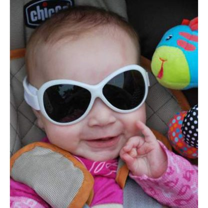 Baby in Retro Banz Cool White sunglasses