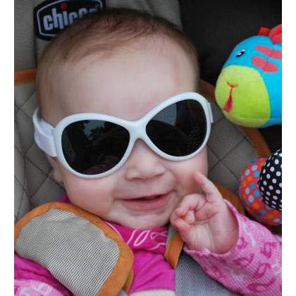 Baby in Retro Banz Cool White sunglasses