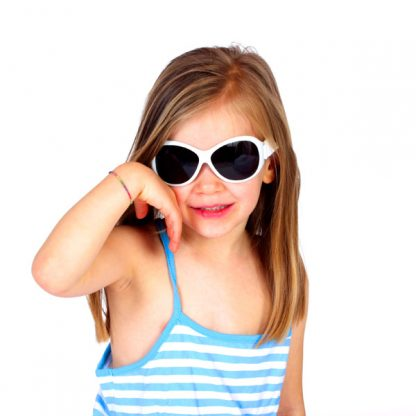 Girl in Retro Banz Cool White sunglasses