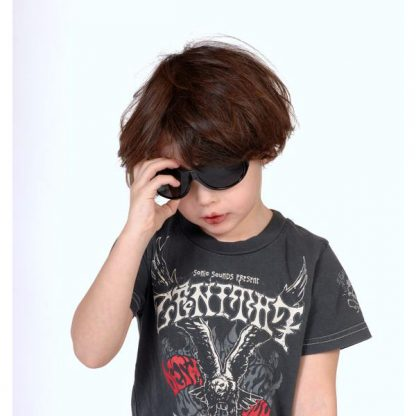 Boy wearing Retro Banz sunglasses in Midnight Black