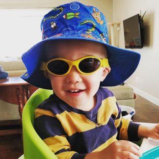 Boy in Adventure Banz Gold Metallic sunglasses
