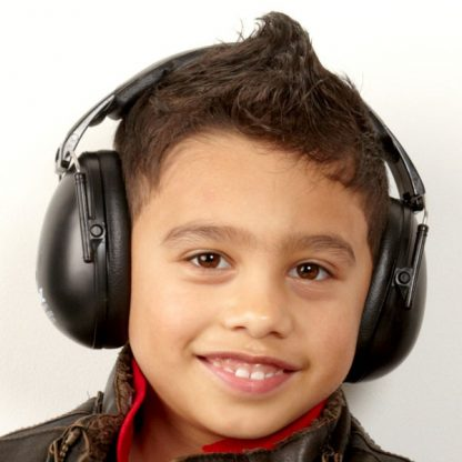 Boy in Protective Earmuffs Black