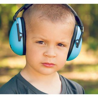 Boy in Protective Earmuffs Blue