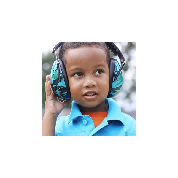 Boy in Protective Earmuffs Camo Blue