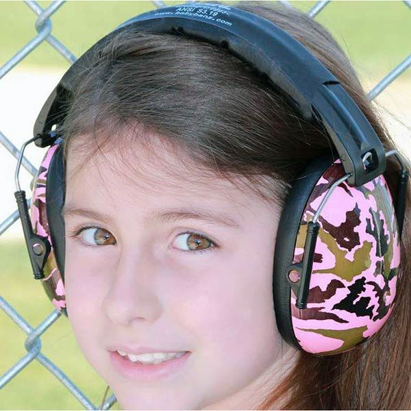 Girl in Protective Earmuffs in Camo Pink