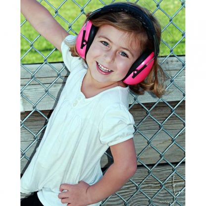 Girl in Hear No Blare Earmuffs in Pink