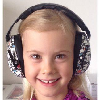 Girl wearing Hear No Blare Earmuffs in Sqiggle