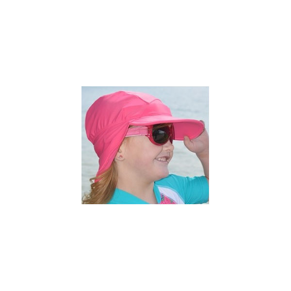 Girl in Flap Hat in Pure Pink