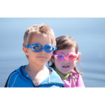 Boy and girl in Baby Banz Swimming Goggles