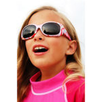 Girl in JBanz Pink Stripe sunglasses