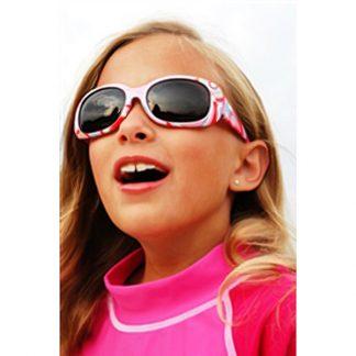 Girl in JBanz Pink Stripe sunglasses