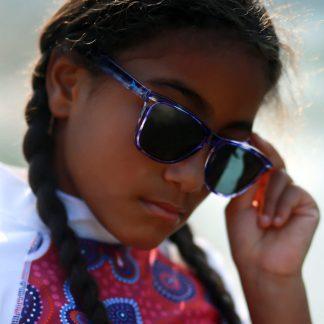 Girl in JBanz Flyerz Tortoiseshell Purple sunglasses