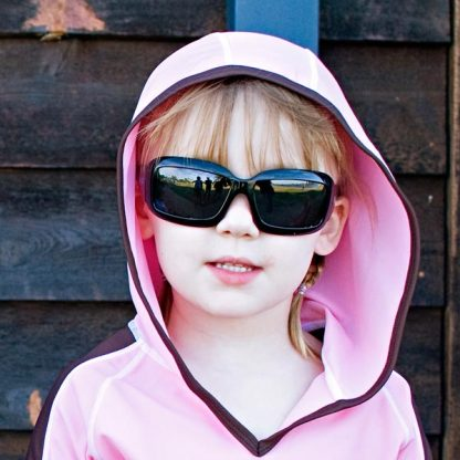 Girl in JBanz Wrap Square TV Black sunglasses