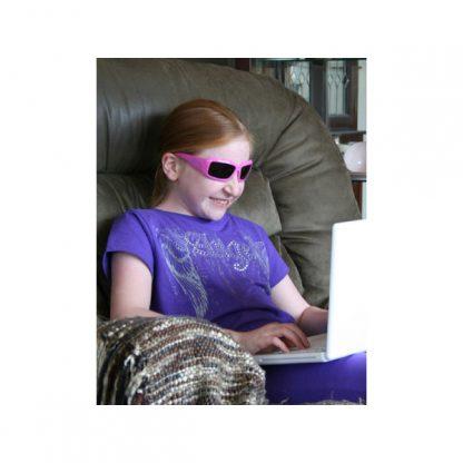 Girl in JBanz Wraparound Square Pink sunglasses