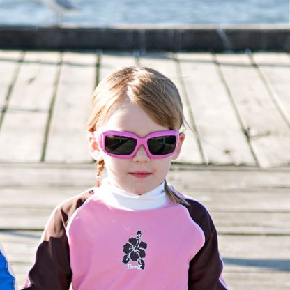 Girl in JBanz Wrap Square Pink sunglasses