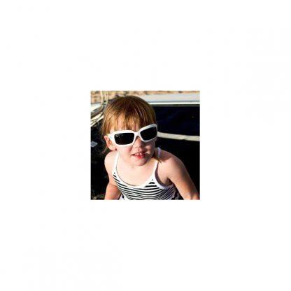 Girl in JBanz Wrap Square White sunglasses