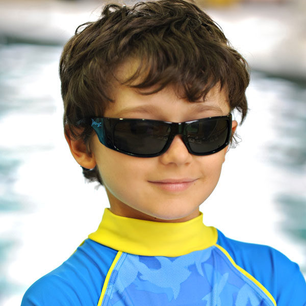 Boy in JBanz Wraparound Black sunglasses