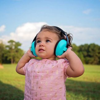 Mini Earmuffs in Aqua on a child