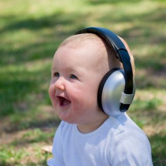 Baby laughing while wearing Mini Earmuffs in Silver