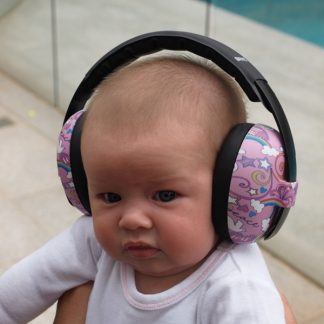 Baby wearing Peace earmuffs