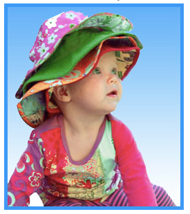 baby wearing lots of Baby Banz sunhats!
