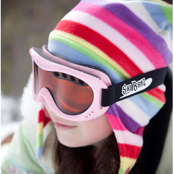 Girl in SkiBanz Powder Pink snow goggles