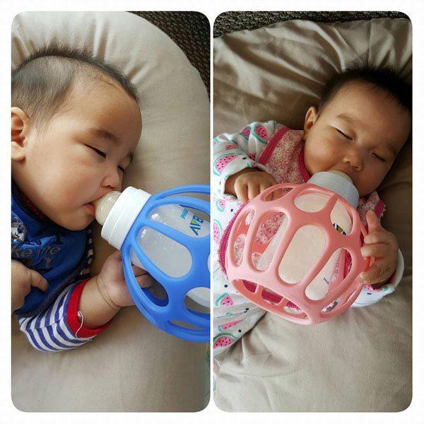 Twin babies feeding with Bottle Balls