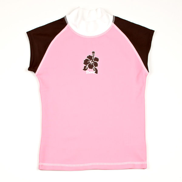 Short-sleeved Pink/Mocha rash shirt