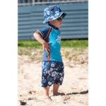 Small boy in Blue/Choc swimwear
