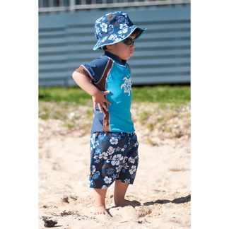 Small boy in Blue/Choc swimwear