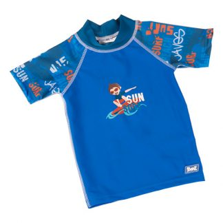 Short-sleeved Blue Graffiti rash shirt