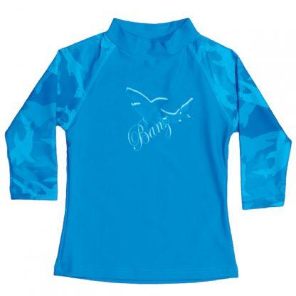 Long-sleeved rash shirt in Fin Frenzy Blue