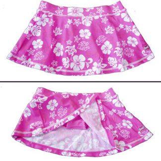 Pink/White swim skirt showing bikini bottom