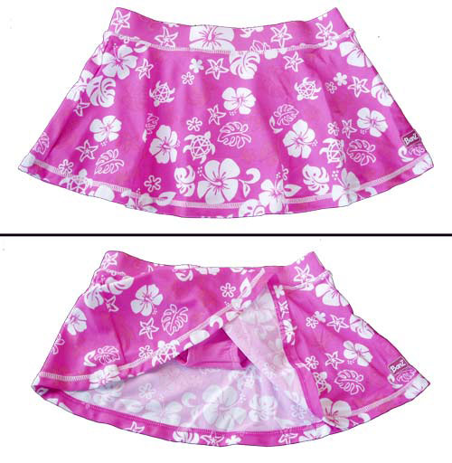 Pink/White swim skirt showing bikini bottom