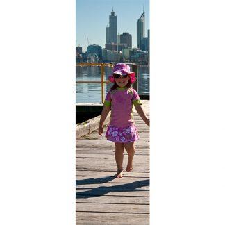 Girl in a Pink/Green swim skirt