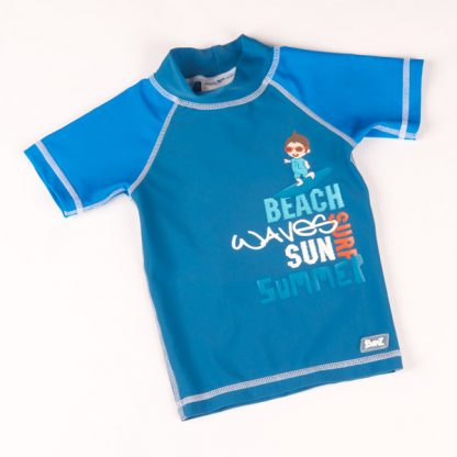 Short-sleeved Blue Surfer rash shirt